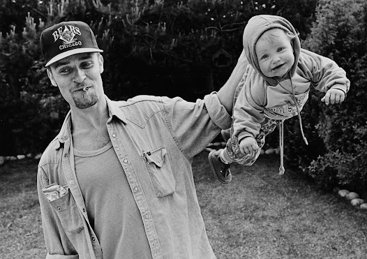 Here it's the 1990's. Björn, now 26 years old, is playing with his daughter Kaja.