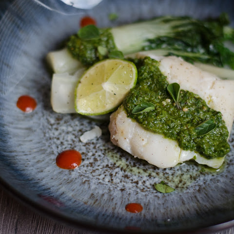 Sous vide Cod with Chilli Lime Salsa Verde and Bok Choi.