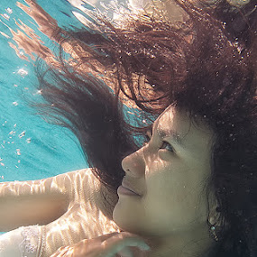 Down Below by Tito Adinoegroho - People Portraits of Women ( underwater )