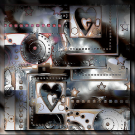 Crazy Little Thing called Love by Nancy Bowen - Illustration Abstract & Patterns ( hearts, copper, black and white, keys, stars )