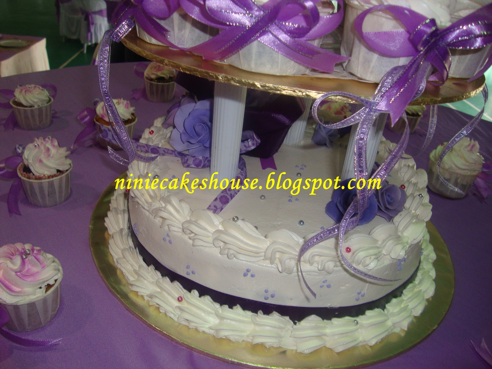 3 Tier Wedding cakes-Purple n