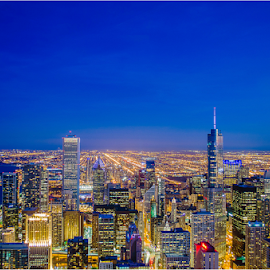 Chicago Downton during dusk by Surendran Narayanamoorthy - City,  Street & Park  Skylines ( chicago skyline, chicago skyline during sunset, night photography, nikon d7000, evening, golden hour )