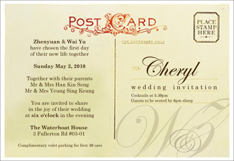 postcard inspired wedding card - Wedding Card Sample