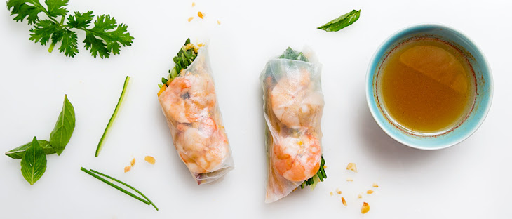 Summer Rolls with Lime-Cured Shrimp and Peaches Recipe | Yummly