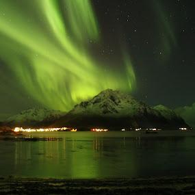 Aurora in Lofoten Norway by Karl-roger Johnsen - Landscapes Mountains & Hills