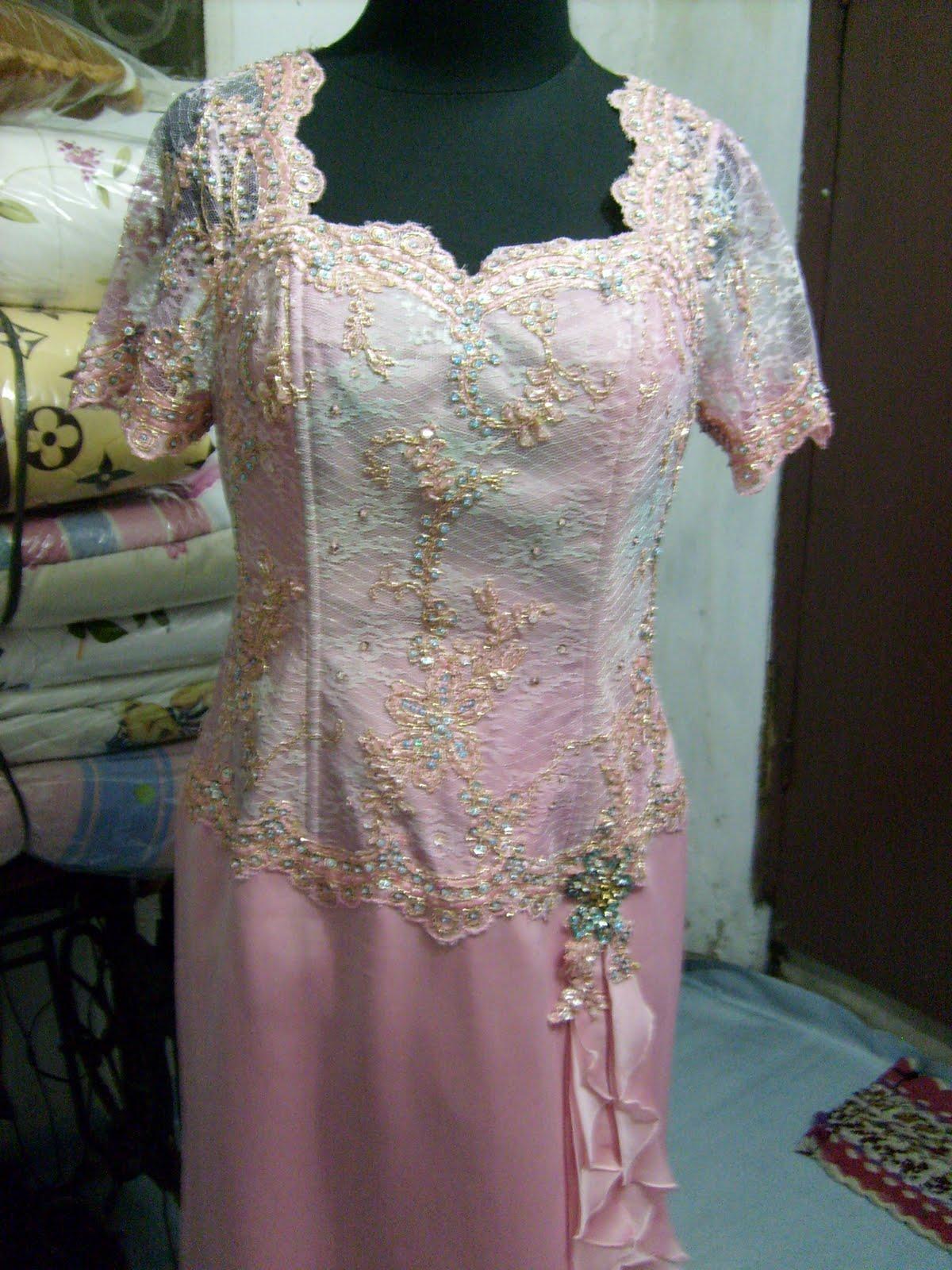 Payet Gaun Pesta Brokat Pink