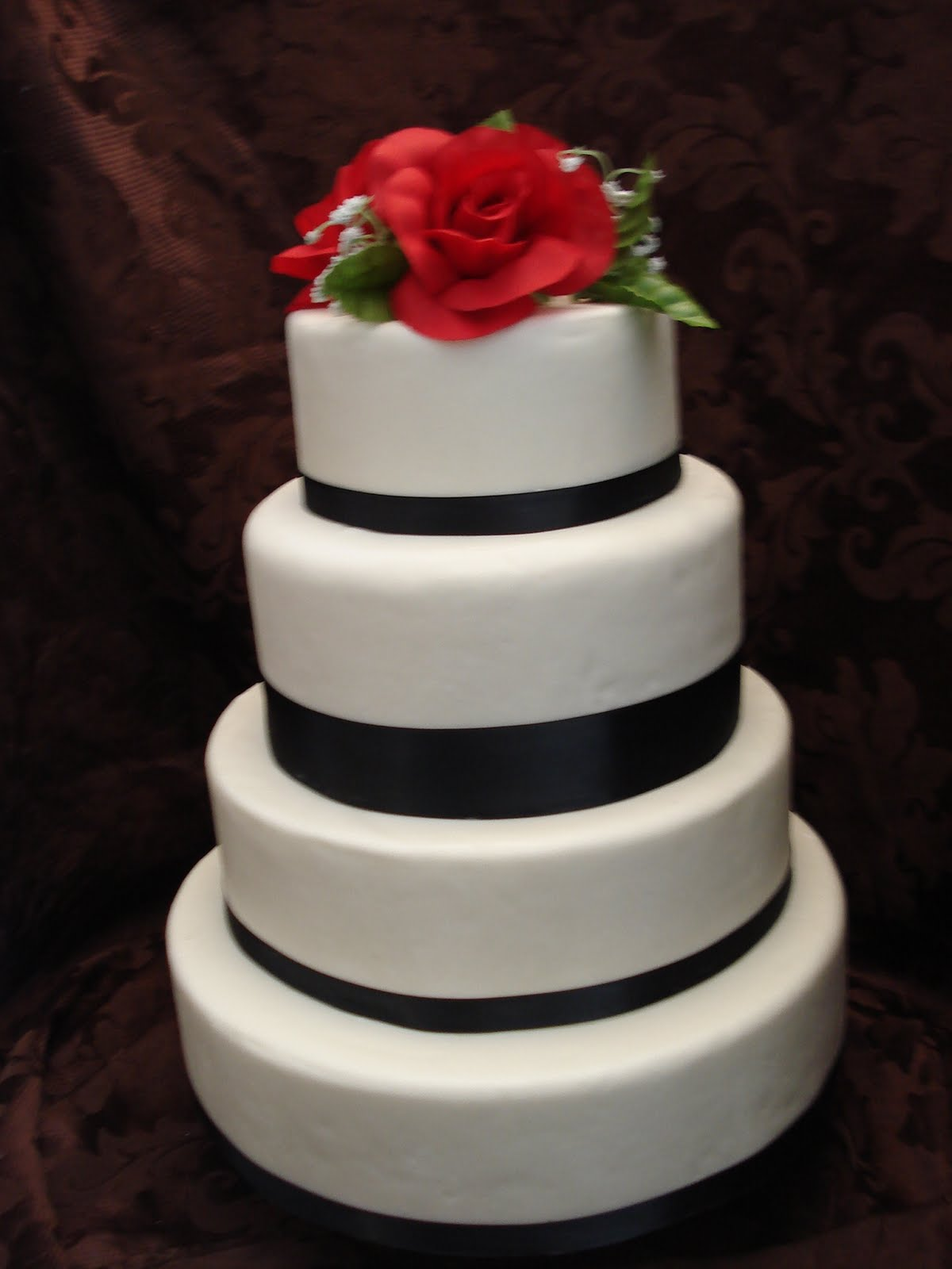 Black and red wedding cake.