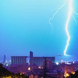 CG lightning in Rijeka, Croatia by Petar Paljaga - Landscapes Weather ( croazia, rijeka, thunder, fiume, lightning, croatien, thunderstorm, croatia, august, weather, storm, rain )