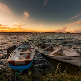 A Windy Lakeshore  by Willie Forde - Landscapes Waterscapes ( water, wind, ireland, sunset, boats, westmeath, lake, river )