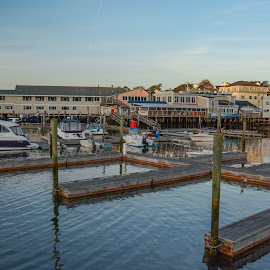 Boothbay Harbor Marina by Robert Coffey - City,  Street & Park  Street Scenes ( harbor, maine, shops, boothbay, town, marina, docks )
