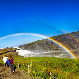 Rainbows over Gullfoss by Radu Eftimie - Landscapes Waterscapes ( gulfoss, iceland, waterfall, double, rainbow )