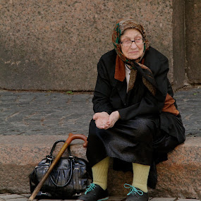 Begging By the Church by Leigh Thomson - People Street & Candids ( old, russia, beggar, russian, woman, st petersburg, street, poor, candid, traditional, street scene, people )