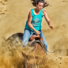Rider going down by Joe Saladino - Sports & Fitness Rodeo/Bull Riding ( rider, barrel racer, horse, falling, competition )