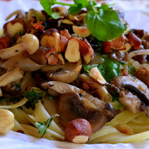 Fettuccine with Wild Mushrooms and Hazelnuts