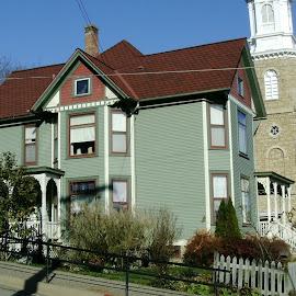 Galena Green House by Church by Kathy Rose Willis - City,  Street & Park  Neighborhoods ( galena, illinois, church, green, house )