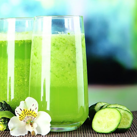 Healthy Liquid Diet Green Smoothie with cucumber and avocado