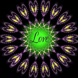 The Ring of Love by Nancy Bowen - Typography Words ( black background, love, hearts, purple, green, gold, circle )