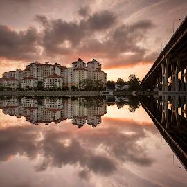 sunrise TJ road by Sherry Zhao - Landscapes Sunsets & Sunrises ( clouds, reflection, nature, cityscape, travel, bridge, sunrise, landscape, singapore,  )