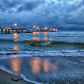Morning on the Bay by James Gramm - Landscapes Waterscapes ( clouds, water, sand, pier, long exposure, ocean, beach )
