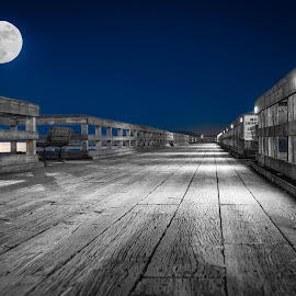 Moon on Peir by Darren Sutherland - Buildings & Architecture Bridges & Suspended Structures