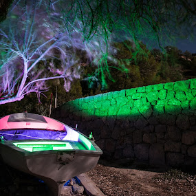The Boat of Colours by Inma  Monte Picante - Abstract Light Painting ( cala d'hort, ibiza )