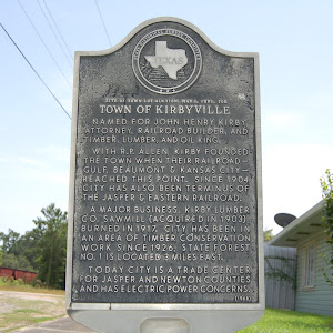 (May 1, 1895) Named for John Henry Kirby, attorney, railroad builder, and timber, lumber, and oil king. With R. P. Allen, Kirby founded the town when their railroad-- Gulf, Beaumont, & Kansas City-- ...