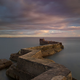 The Squiggly Pier by Charlie Davidson - Landscapes Waterscapes ( scotland, sunset, pier, sea, long exposure, seascape )