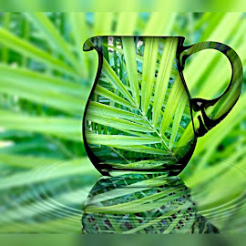 Digital fern by Paula Palmer - Digital Art Abstract ( reflection, nature, flora, green, jug,  )