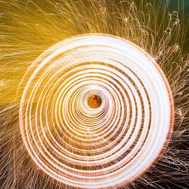 Steelwool spinning in Louisville Kentucky by Doug Cohron - Abstract Fire & Fireworks ( louiville, drone, dji phantom 4, ohio river, drone photography, steel wool spinning, kentucky, kentucky drone, steel wool tornado, steel wool, dji, raining sparks, sparks, spark tornado, phantom 4 )
