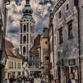 Cesky Street by Adam Lang - City,  Street & Park  Street Scenes ( hdr, church, cesky krumlov, street, summer )