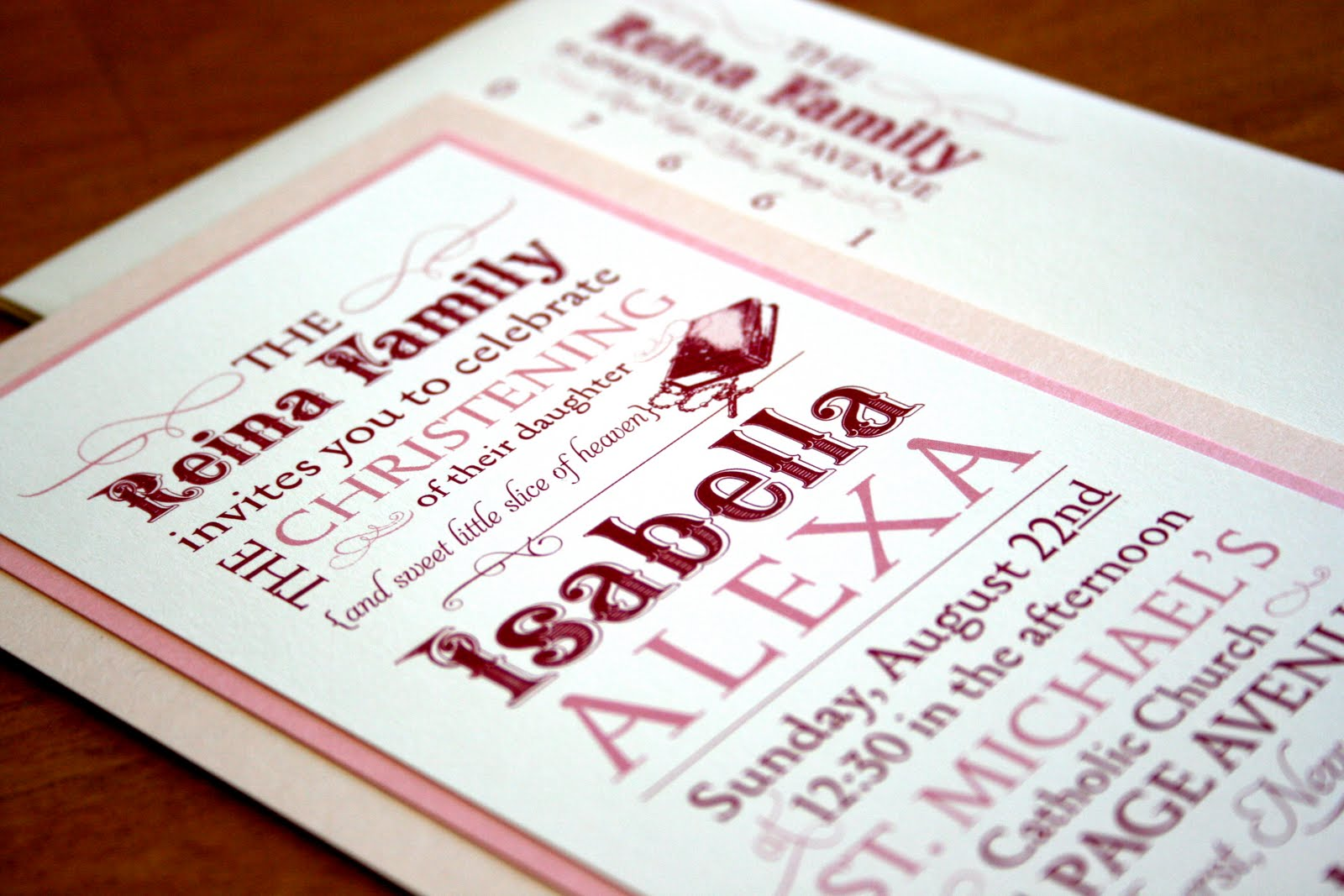 Invitation in pink,