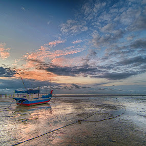 Boat at Low Tide by Adrian Choo - Landscapes Sunsets & Sunrises ( clouds, red, dawn, low tide, beach, sunrise, boat, boatcolors )