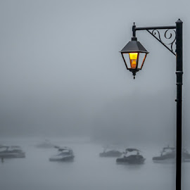 Morning mist by Diane Gelinas - Transportation Boats ( lights, fog, boats, morning, mist )