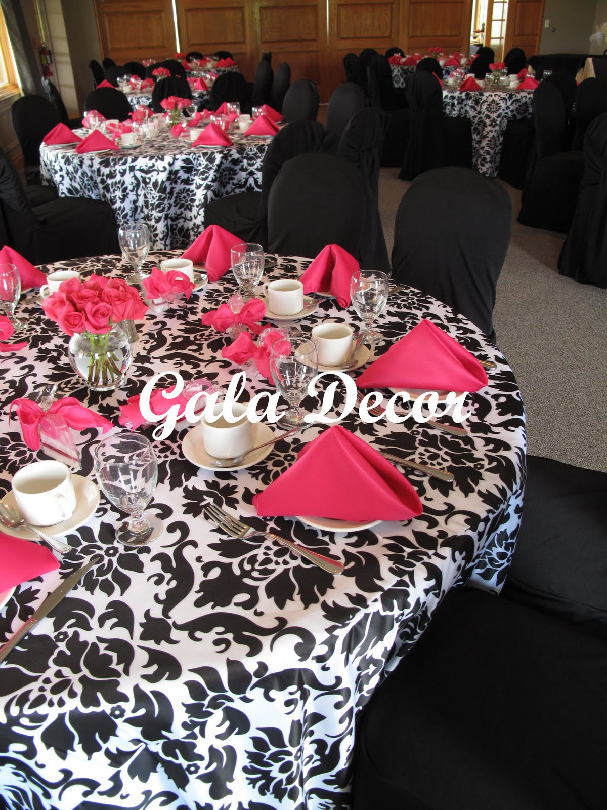 damask wedding black champagne