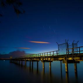 The Blue  by Mohamad Sa'at Haji Mokim - Buildings & Architecture Bridges & Suspended Structures ( waterscape, blue, star trail, bridge, landscape, slow shutter )