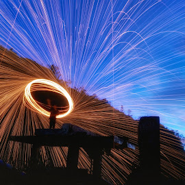 some day by Dhito Riyadi - Abstract Light Painting ( mobilography, night photography, mobile photos, steelwool, bulbs, night shot, longexposure, fire, nightscape )