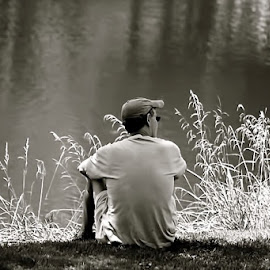Summer Lakeside by Judy Laliberte - Novices Only Portraits & People ( grasses, water, reflection, person, b & w, light )