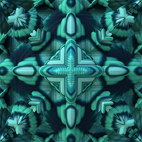 Cool Mint by Lyle Hatch - Illustration Abstract & Patterns ( kaleidoscope, mandelbulb, 3d, 3-d, mirrored, mint, teal, beauty, fractal, aqua, three dimensional, mandala )