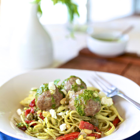 Lamb Meatballs & Mint Pesto Linguine