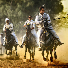 3 Warriors  by Abdul Rehman - Sports & Fitness Other Sports ( natural light, pakistan, tent pegging, punjab, horse, dust, sun light, natural, sun )