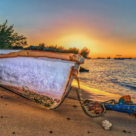 sunset boat on beach  by Peter Schoeman - Transportation Boats ( sunset, mauritius, 2016, palm trees, ocean, flowers, sun, island )