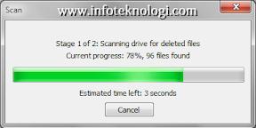 Gambar Recuva mencari file yang terhapus