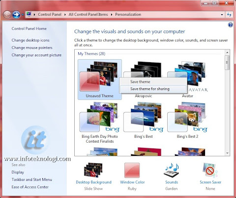 Simpan tema Windows 7 ke file .themepack