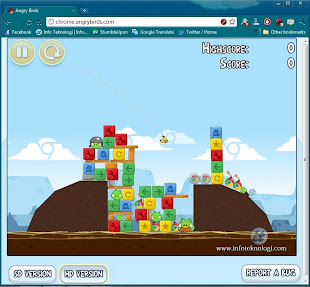 Bermain Angry Birds di Chrome browser