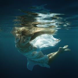 Marina by Dmitry Laudin - People Fashion ( water, girl, blue, underwater, dress, beautiful, swim, dive )