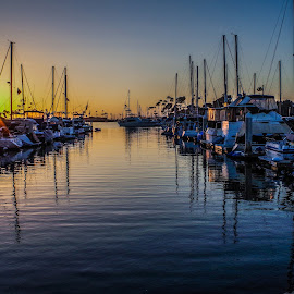 by Ken Mickel - Landscapes Waterscapes ( water, oceanside, harbor, sunsets, california, sail boats, boats, harbor village, boat, sail boat )