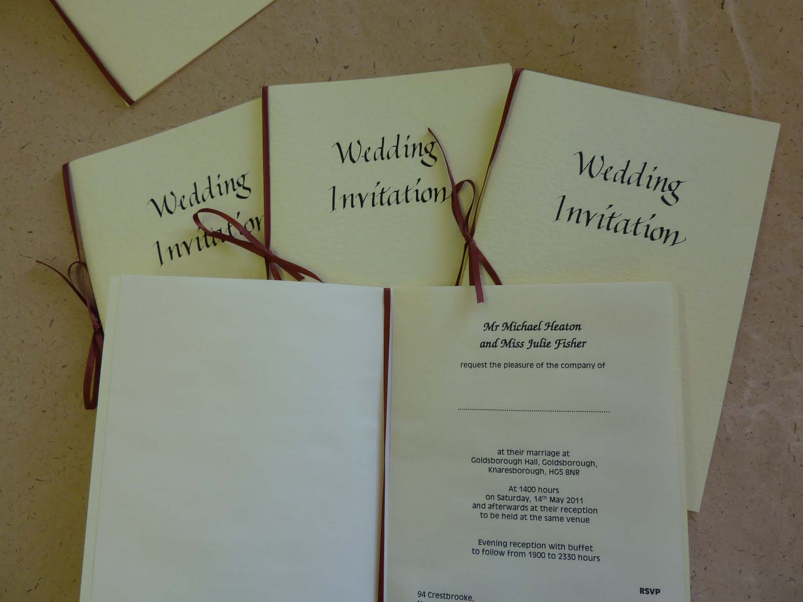 hand made wedding invites
