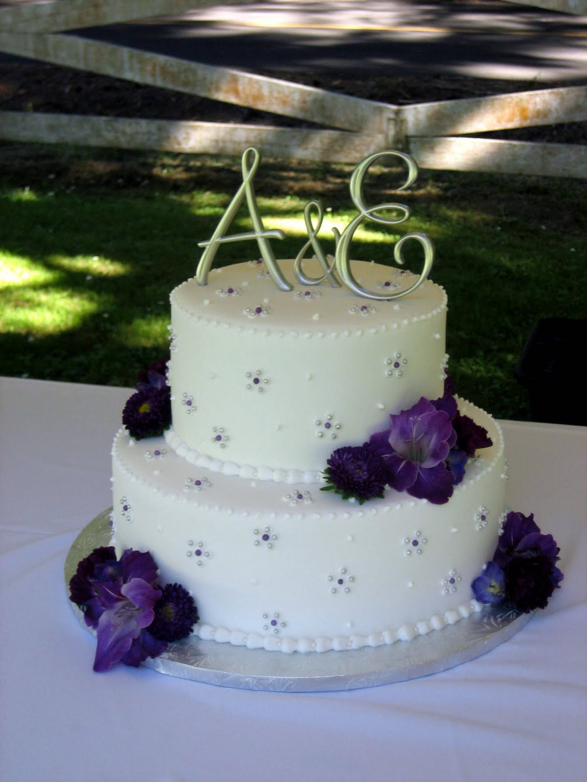 Silver & Purple Wedding Cake