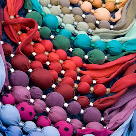 Colourful cloth beads by Judy White - Abstract Macro ( red, markets, blue, colors, beads, tallinn eastonia )