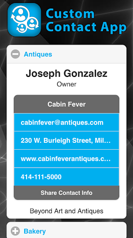 android Custom Contact App Screenshot 1